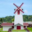 Home wind turbine in park on hill — Stock Photo