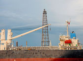 Crane on Boat at Oil refinery factory in Thailand — Stock Photo