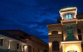 Clock Tower in Bangkok Town at night — Stock Photo