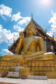 Big buddha gold color in temple at Thailand — Stock Photo