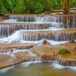 Waterfall in deep rain forest jungle(Huay Mae Kamin Waterfall in — Stock Photo