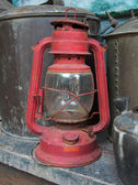 Old red rusty lantern — Stok fotoğraf