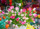 Tulips of the fabric, floral background — Stock Photo
