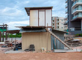Temporary houses for worker near construction place — Foto Stock