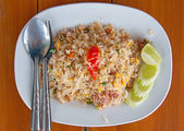 Pork fried rice on the table — Stock Photo