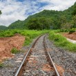 Train tracks curving along a mountain — Stock Photo