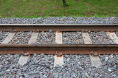 Thailand railway with grass and rock — Stock Photo