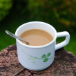 Coffee cup in garden — Stock Photo #34924385