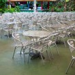 Metal chairs at food center — Stock Photo