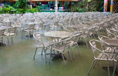 Metal chairs at food center — Foto Stock