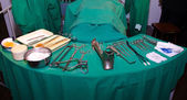 Surgeon and old surgical tools. — Stockfoto