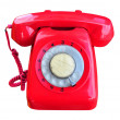Stock Photo: Red rotary telephone