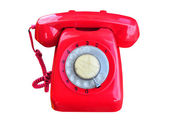 A red rotary telephone — Stock Photo
