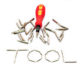 Tool yellow screwdriver heads toolkit isolated on white — Stockfoto