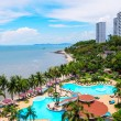 Swimming pools and bar at the beach of luxury hotel, Pattaya, — Stock Photo