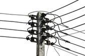 Electricity pylon isolated on white — Stock Photo