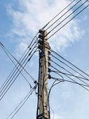 Electricity pylon on blue sky — Stock Photo