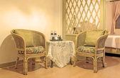 Rattan armchair furniture. — Zdjęcie stockowe