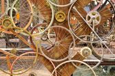 Bicycle wheels pattern decorate to background — Stockfoto