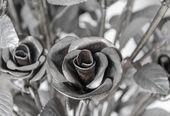 Kwiaty róże wykonane z żelaza, miłość jest trudne — Zdjęcie stockowe