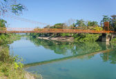 Serene landscape by the Nam Song River at Vang Vieng, Laos — Stock Photo