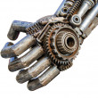 Hand of Metallic cyber or robot made from Mechanical ratchets bo — Stock Photo #41097615