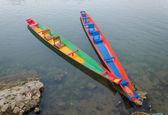 Long tail boats on Song river, Vang Vieng,Laos — Stock Photo