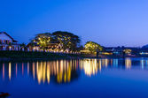 Night landscape in the Nam Song River at Vang Vieng, Laos  — Stock Photo