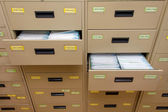 Archive cabinet with open drawer — Stock Photo