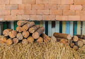 Firewood stacked up in a pile — Stock Photo