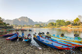 Long tail boats on Song river, Vang Vieng,Laos — Stock Photo