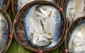 Streamed mackerel in bamboo basket — Stock Photo