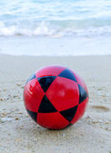Football on beach for Soccer sport — Stock Photo
