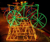Bicycle Made up of LED (light emitting diode) — 图库照片
