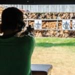 Outdoor gun shooting of target range — Stock Photo #46426739
