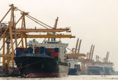 Container Cargo freight ship with working crane bridge in shipya — Stock Photo
