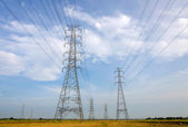 High voltage tower, Power station for making Electricity — Foto Stock
