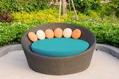 Rattan armchair furniture in garden — Foto de Stock