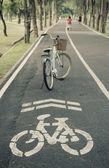 Bellissimo paesaggio con bicicletta al parco — Foto Stock