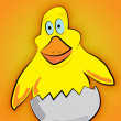 Vector de stock : Small yellow chicken