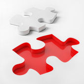 3d Puzzle on White Background, Red and White Puzzle, 3d Illustrated — Stock Photo
