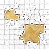 Weiße puzzle mit holzboden, hintergrund — Stockfoto