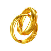 3D Couple of Wedding Rings Isolated on White Background — Stock Photo