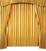 Golden Curtain Isolated on White Background — Stock Photo