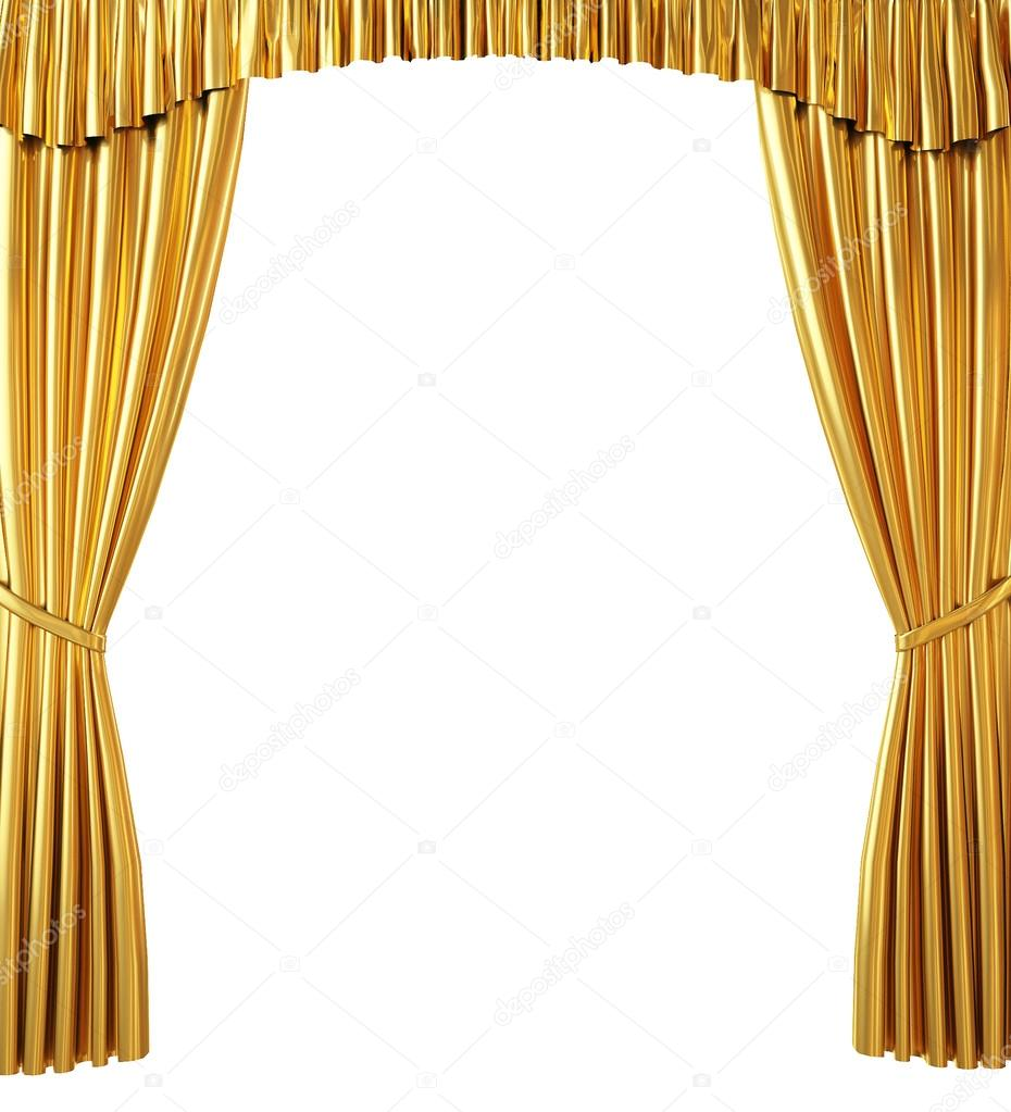 Sipario d'oro isolato su sfondo bianco — Foto Stock © CorDesign ...