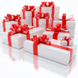 White Gift Boxes Over White Background 3d Illustration - Stock Photo