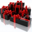 Royalty-Free Stock Photo: Black Gift Boxes Over White Background 3d Illustration
