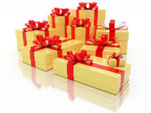 Yellow Gift Boxes Over White Background 3d Illustration — Foto de Stock
