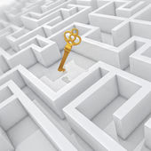 White labyrinth, problem solved, golden key in center of abstract maze — Stockfoto