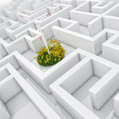 White labyrinth, problem solved, wind turbine with grass and flowers in abstract maze — Stock Photo